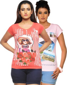 Jazzup Printed Women's Round Neck Orange, Pink T-Shirt Pack Of 2