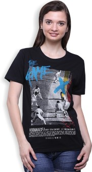 Go India Store Printed Women's Round Neck Black T-Shirt