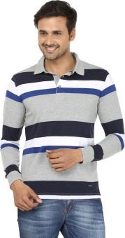 John Players Striped Men's Flap Collar Neck Blue, Grey T-Shirt