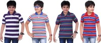 Dongli Striped Baby Boy's Polo Neck Purple, Blue, Dark Blue, Red T-Shirt (Pack Of 4)