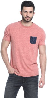 Basics Solid Men's Round Neck Red T-Shirt