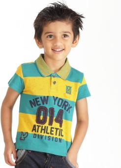 Ventra Striped Boy's Polo Neck Green, Yellow, Blue, Black T-Shirt
