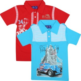 SPN Garments Printed Boy's Polo Neck Blue, Red T-Shirt