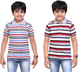 Dongli Striped Boy's Polo Neck Silver, Grey T-Shirt Pack Of 2