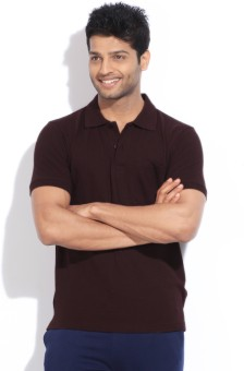 Dixcy Scott Solid Men's Polo Brown T-Shirt