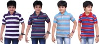 Dongli Striped Baby Boy's Polo Neck Purple, Blue, Light Blue, Red T-Shirt (Pack Of 4)