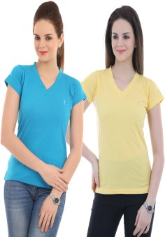 Ultrafit Solid Women's V-neck Blue, Yellow T-Shirt Pack Of 2