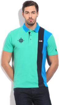 Fila Striped Men's Polo Blue, Light Green T-Shirt