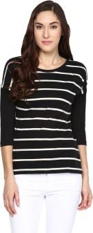 Hypernation Striped Women's Round Neck Black, White T-Shirt