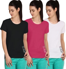 Yogaandsportswear Printed Women's Round Neck Black, Pink, White T-Shirt Pack Of 3