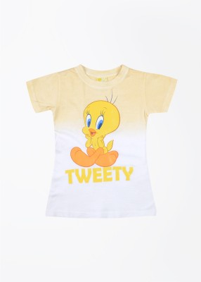 Tweety Tweety Printed Girl's Round Neck T-Shirt (Yellow)
