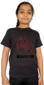 Trendster Printed Girl's Round Neck Black T-Shirt