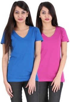 Avarnas Solid Women's V-neck Dark Blue, Pink T-Shirt Pack Of 2