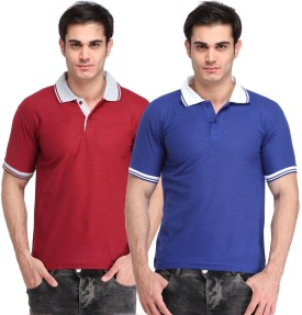 LIME Solid Men's Polo Neck Blue, Maroon T-Shirt Pack Of 2
