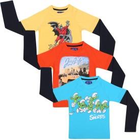 SPN Garments Printed Boy's Round Neck Yellow, Orange, Blue T-Shirt