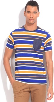 Flippd Striped Men's Round Neck White, Blue, Yellow T-Shirt