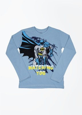 Batman Batman Printed Boy's Round Neck T-Shirt (Blue)