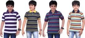 Dongli Striped Boy's Polo Neck Light Green, Black, Blue, Purple T-Shirt Pack Of 4