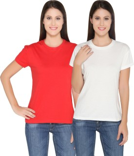 Ten On Ten Solid Women's Round Neck White, Red T-Shirt Pack Of 2