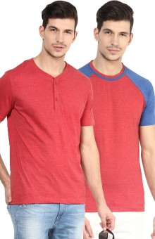 Yellow Submarine Solid Men's Henley, Round Neck T-Shirt Pack Of 2