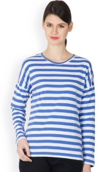 Hypernation Super Striped Women's Round Neck T-Shirt - TSHE3X6AADQY3UES