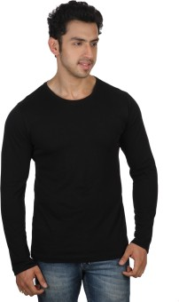 Rigo Solid Black Slim Fit Solid Men's Round Neck T-Shirt