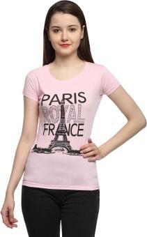Maatra Printed Women's Round Neck Pink T-Shirt