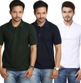 Weardo Solid Men's Polo Neck Green, Blue, White T-Shirt Pack Of 3