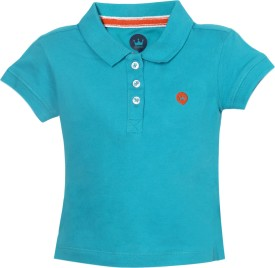 Vitamins Solid Baby Girl's Polo Neck Light Blue T-Shirt