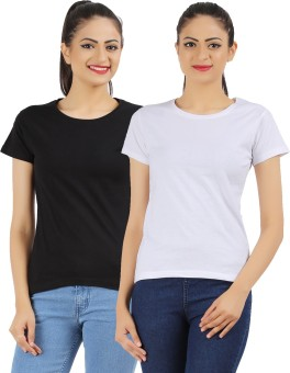 Ap'pulse Solid Women's Round Neck Black, White T-Shirt Pack Of 2