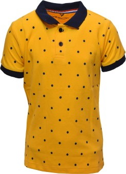 Vinenzia Polka Print Boy's Polo Neck Yellow T-Shirt