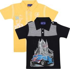 SPN Garments Printed Boy's Polo Neck Dark Blue, Yellow T-Shirt