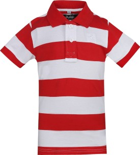 The Cotton Company Striped Boy's Polo Neck Red, White T-Shirt