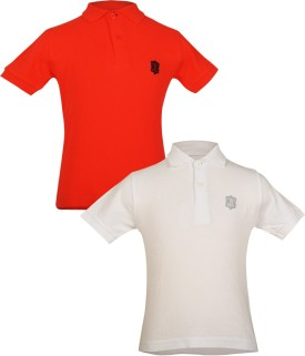 Gkidz Solid Boy's Polo Neck Red, White T-Shirt Pack Of 2
