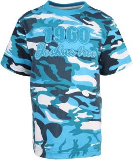 Joshua Tree Printed Boy's Round Neck Blue T-Shirt