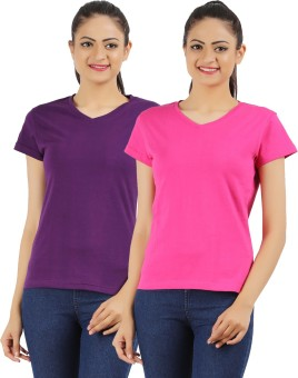 Ap'pulse Solid Women's V-neck Purple, Pink T-Shirt Pack Of 2