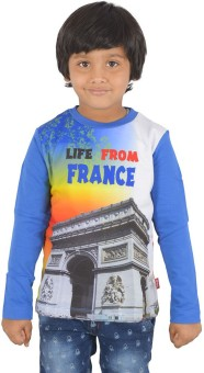 Sparkk Printed Boy's Round Neck Blue T-Shirt