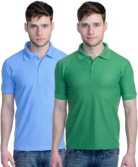 Superjoy Solid Men's Polo Neck Green, Light Blue T-Shirt Pack Of 2