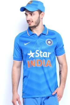 Nike Blue Printed Men's Polo Neck T-Shirt