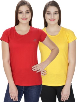 NGT Solid Women's Round Neck Yellow, Red T-Shirt Pack Of 2