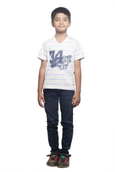 Stop By Shoppers Stop Printed Boy's V-neck Yellow, White T-Shirt