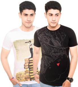 Zwizdot Printed Men's Round Neck White, Black T-Shirt Pack Of 2