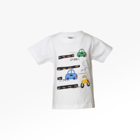 Tales & Stories Graphic Print Boy's Round Neck White T-Shirt