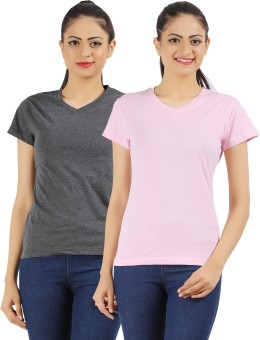 Ap'pulse Solid Women's V-neck Grey, Pink T-Shirt Pack Of 2