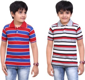 Dongli Striped Boy's Polo Neck Red, Silver T-Shirt Pack Of 2