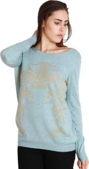 SOIE Printed Women's Round Neck Blue T-Shirt