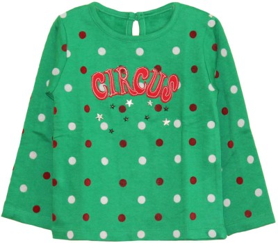 Little Aiva My Little Lambs Graphic Print Baby Girl's Round Neck T-Shirt (Green)