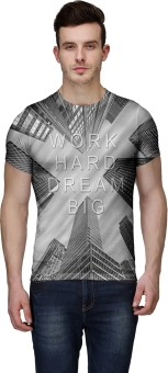 Wear Your Mind Graphic Print Men's Round Neck Grey, Black, White T-Shirt