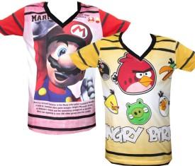 Kidsmasthi Graphic Print Boy's V-neck Multicolor T-Shirt