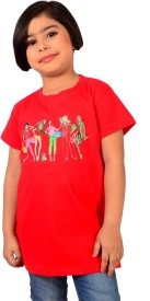 tiny tots Embellished, Applique, Printed Girl's Round Neck Red T-Shirt